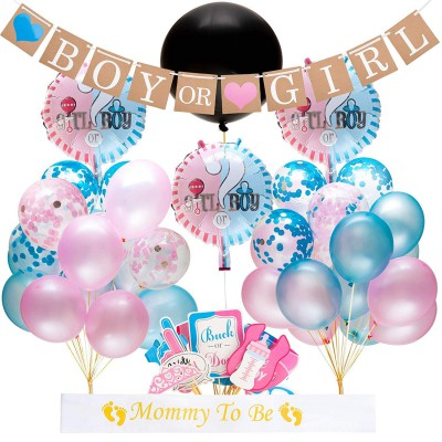 EEIEER Gender Reveal Party Supplies and Baby Shower Boy and Girl Decoration - Including Black Reveal Balloon, Pink Blue Confetti Balloons, Foil Balloons, Banners (64 pieces)