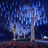 EEIEER Météore Pluie Guirlandes Lumineuse, 8 Tubes 30CM 192 LED Eclairage Météore Douche Lumière Etanche LED Pour Mariage Maison Arbre Jardin de Noël Parti ( Bleu)