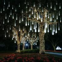 EEIEER Lampe LED effet pluie de météores,Lumières LED Meteor Shower Rain Lights, Icicle Lights, étanche à l'eau, 8 tubes de 192 LED, Blanc froid
