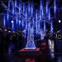 EEIEER Meteorschauer Regen Lichter Lichterregen Lichterkette 50cm 10 Tubes 540 LEDs IP65 Wasserdichte für Party Garten Hochzeit Weihnachten Xmas Außen Innen Dekoration (Blau)…
