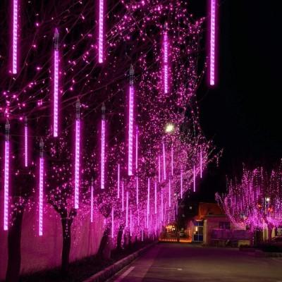 EEIEER Meteorschauer Regen Lichter Lichterregen Lichterkette 50cm 10 Tubes 540 LEDs IP65 Wasserdichte für Party Garten Hochzeit Weihnachten Xmas Außen Innen Dekoration ( Lila)…