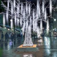 EEIEER Meteorschauer Regen Lichter Lichterregen Lichterkette 50cm 10 Tubes 540 LEDs IP65 Wasserdichte für Party Garten Hochzeit Weihnachten Xmas Außen Innen Dekoration ( Kaltes Weiß)…