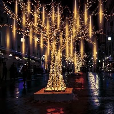 EEIEER Meteorschauer Regen Lichter Lichterregen Lichterkette 50cm 10 Tubes 540 LEDs IP65 Wasserdichte für Party Garten Hochzeit Weihnachten Xmas Außen Innen Dekoration
