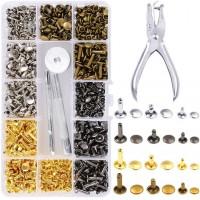 EEIEER 360 Set Druckknöpfe Leder Nieten Doppelkappe Rivet Tubular Metal Studs für DIY Lederhandwerk 3 Größen, 4 Farben (Gold, Silber und Bronze, Rotguss)