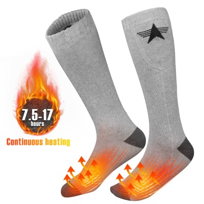 EEIEER Heated Socks Rechargeable, Electric Women's Battery Heating Socks for Men Women,Winter Ski Hunting Camping Hiking Riding Motorcycle Warm Cotton Socks Foot Warmer(Upgraded) (Light Gray, XL)